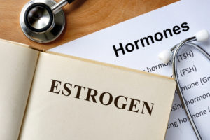 Estrogen word written on the book and hormones list.